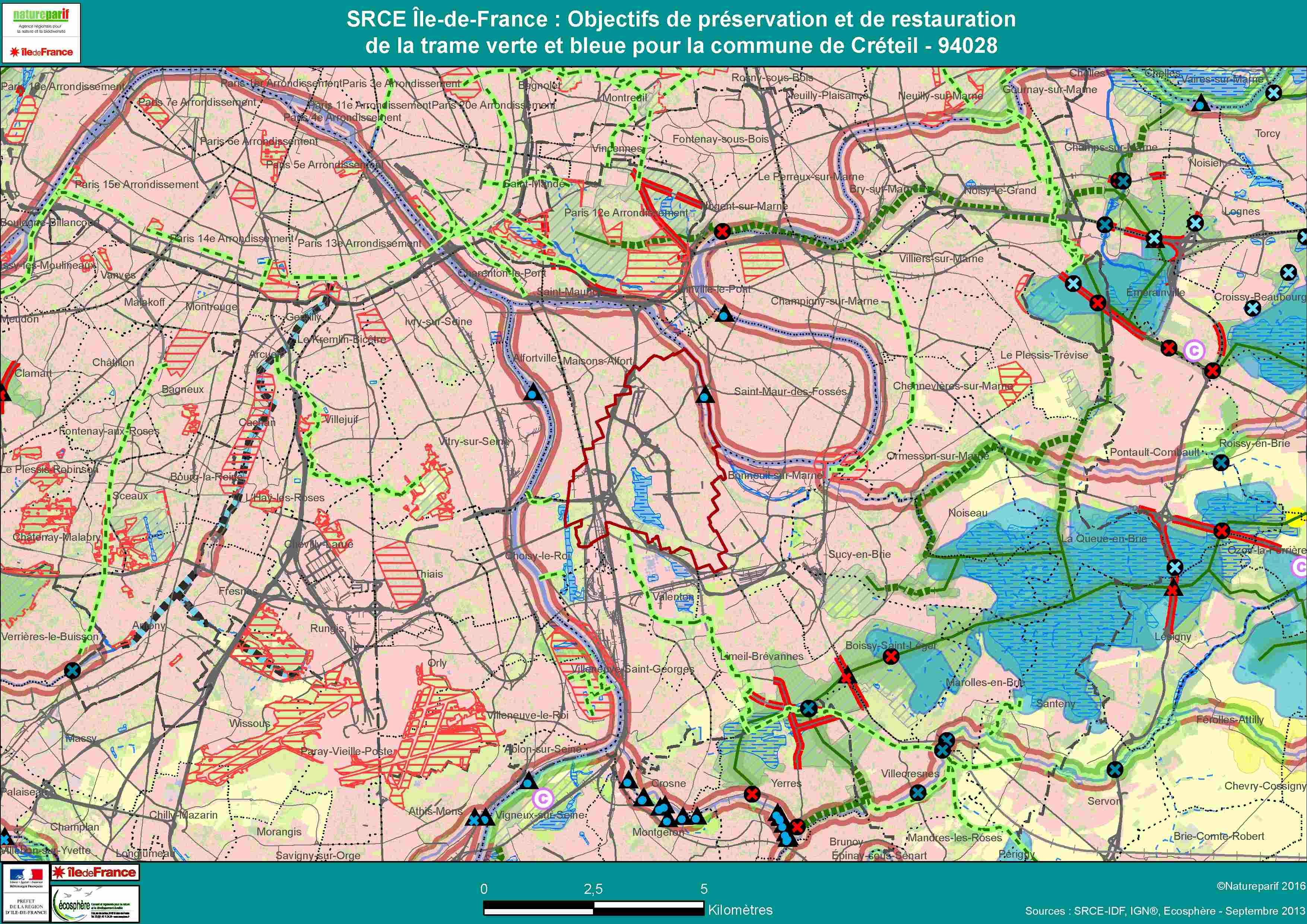 Schéma régional de cohérence écologique d'Île-de-France (SRCE) - Carte des objectifs