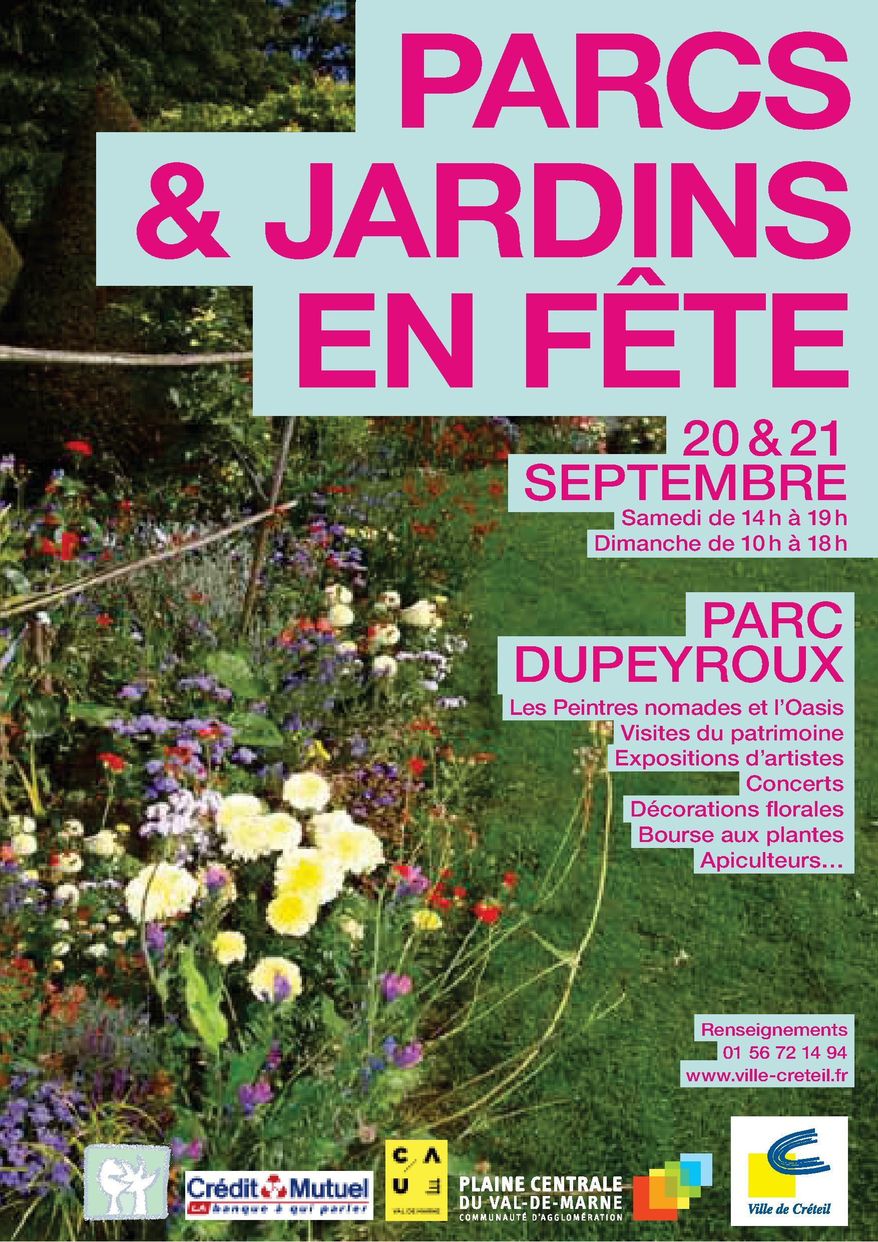 """Affiche de """"PARCS & JARDINS EN FÊTE"""" au Parc DUPEYROUX du 19 au 21 septembre 2014"""
