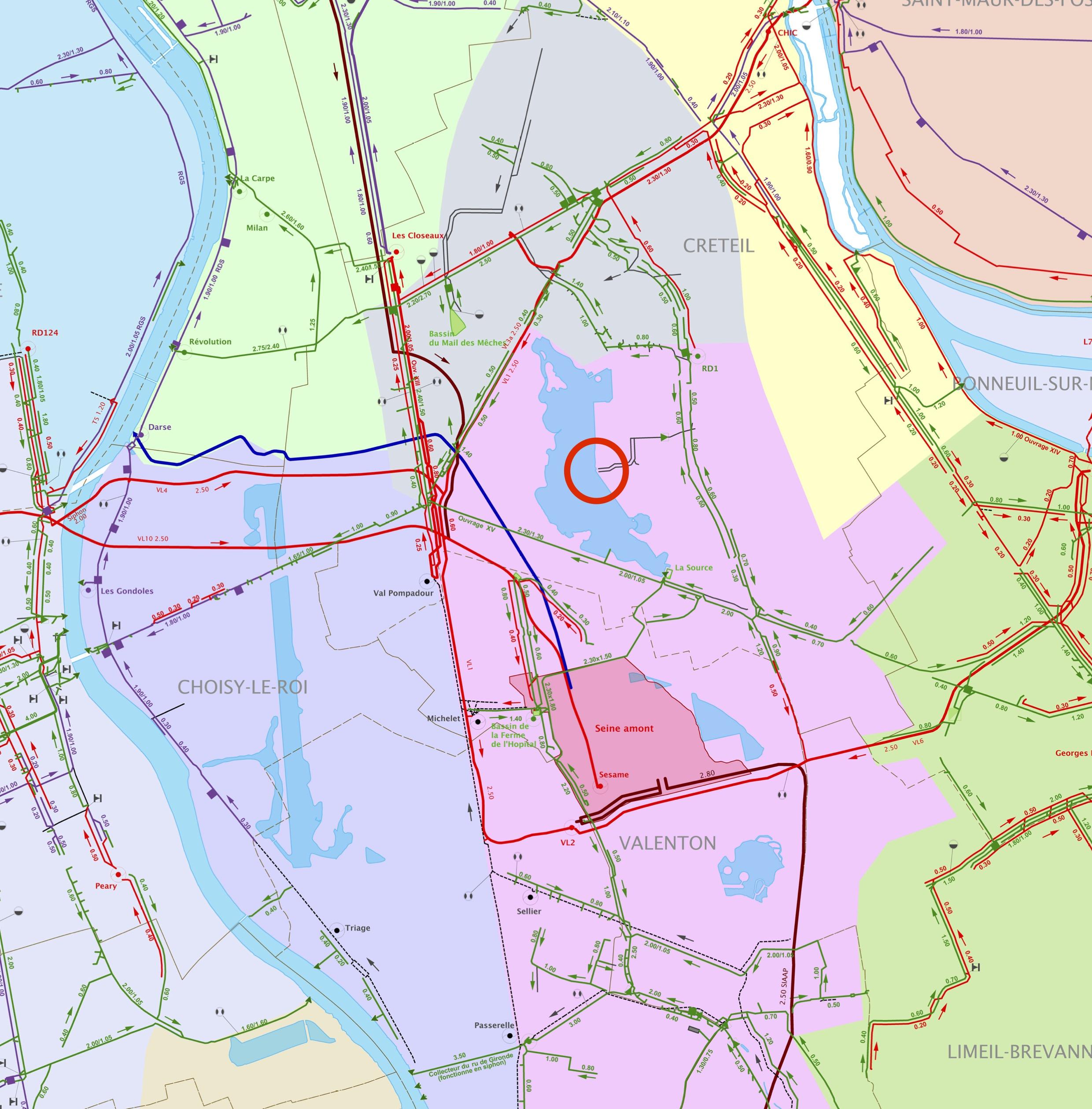 Réseau d'assainissement - secteur comprenant le lac de Créteil