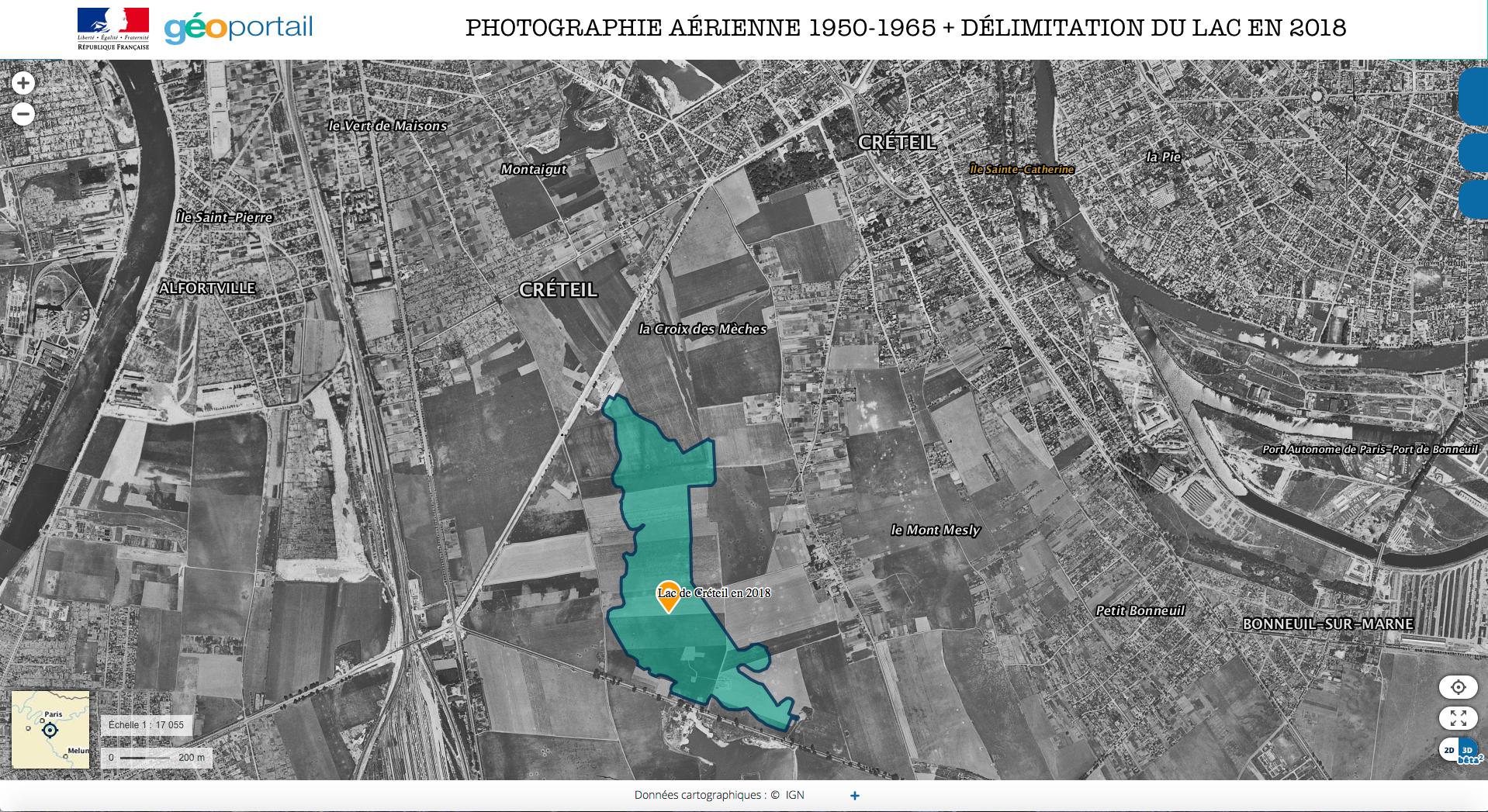 PHOTOGRAPHIE AÉRIENNE 1950-1965 + DÉLIMITATION DU LAC EN 2018