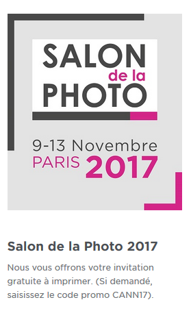 Invitation gratuite au salon de la Photo 2017 par CANON