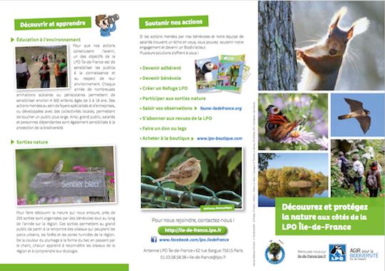 Plaquette de présentation de la LPO Île-de-France page 1/2