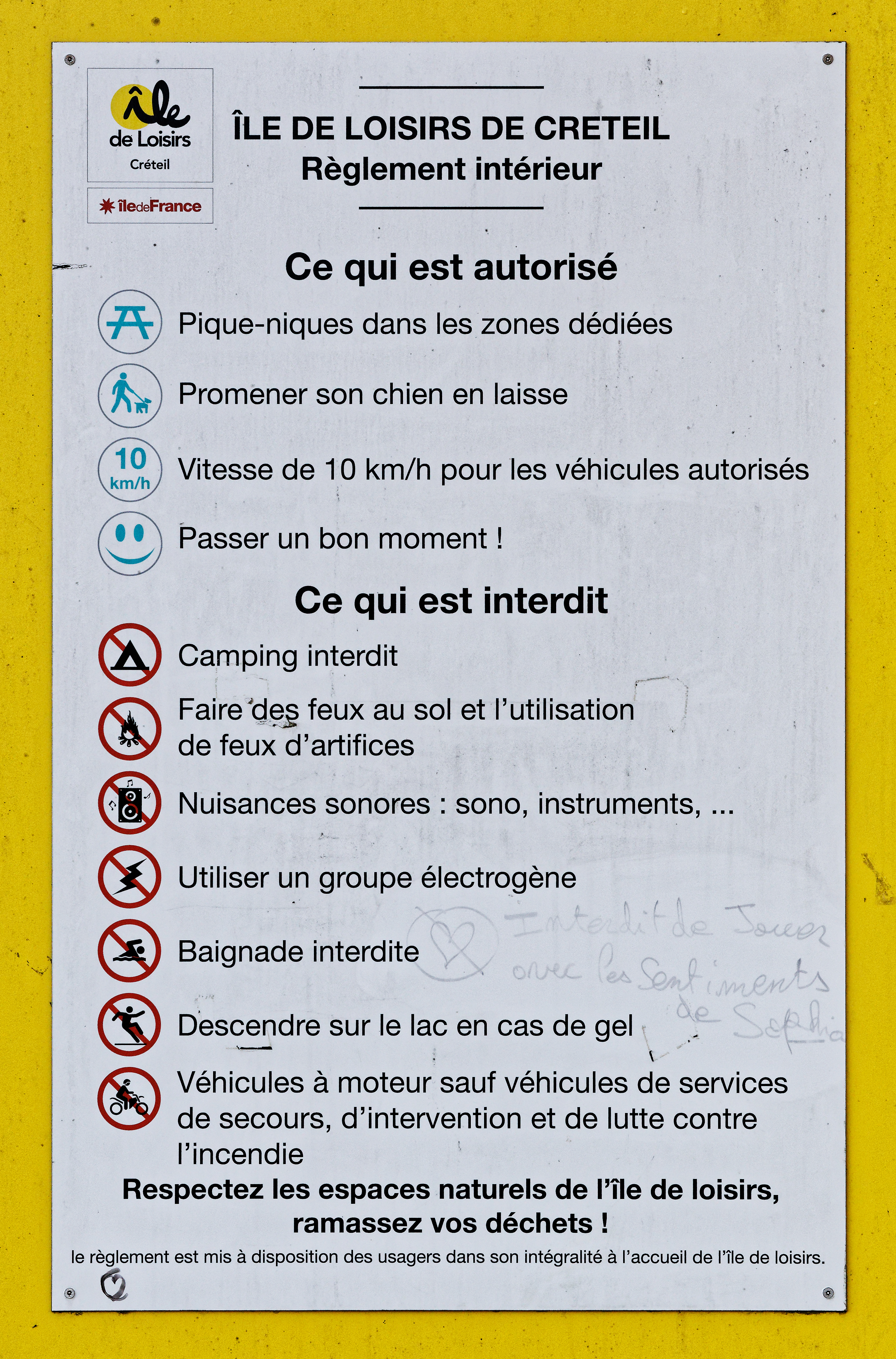 ÎLE DE LOISIRS DE CRETEIL - Règlement intérieur