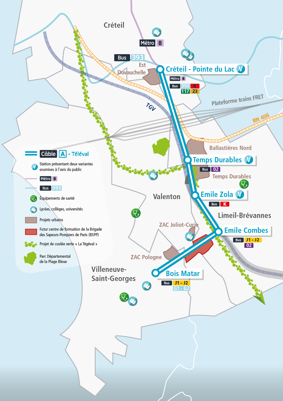 Carte du tracé Câble A