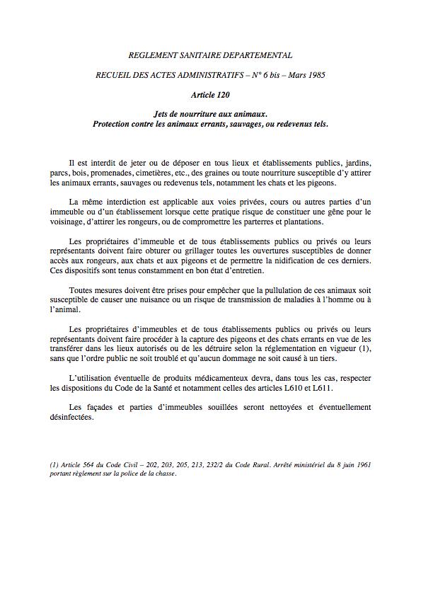 Article 120 du RSD - Arrêté préfectoral n° 85-515 du 26 février 1985