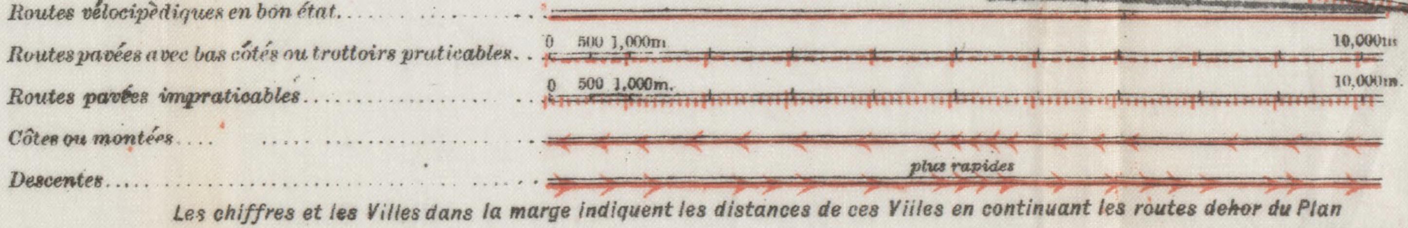 Légende de la carte Plan vélo des environs de Paris (Fin du 19iéme siècle - 1893) sur HARVARD Library