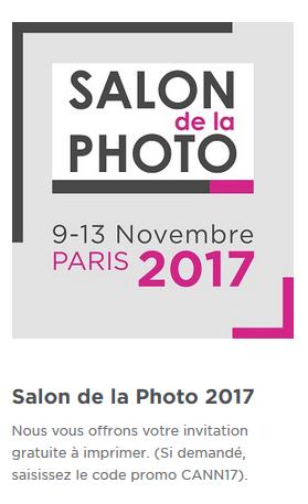 Invitation gratuite au salon de la Photo 2017 par CANON