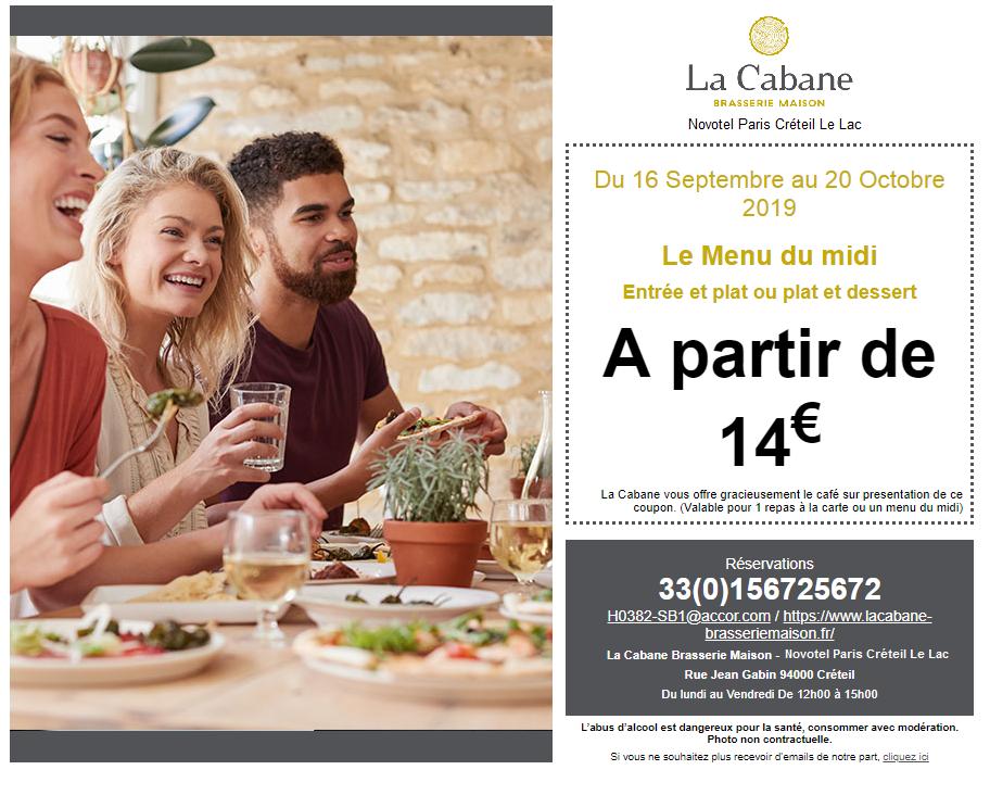 """Coupon à télécharger - Offre spéciale """"La Cabane"""""""